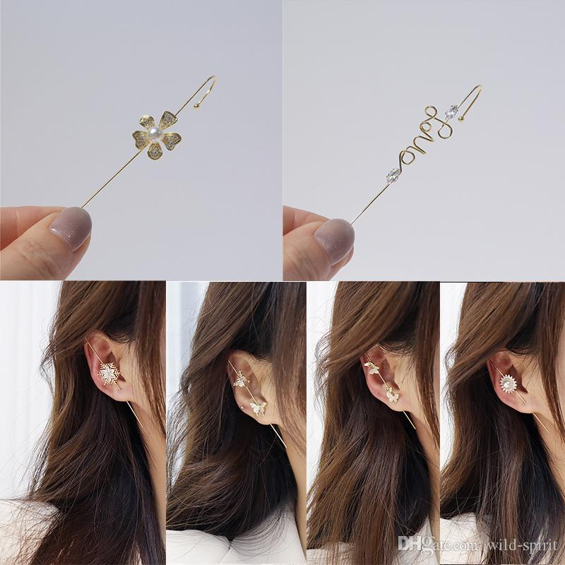 Kadın Kulak Wrap Paletli Kanca Küpe Düğün Takı Piercing Kulak Manşet Dağcılar Küpe Lady Kızlar Için Sevgililer Günü Hediyesi KIMTER-C506FZ