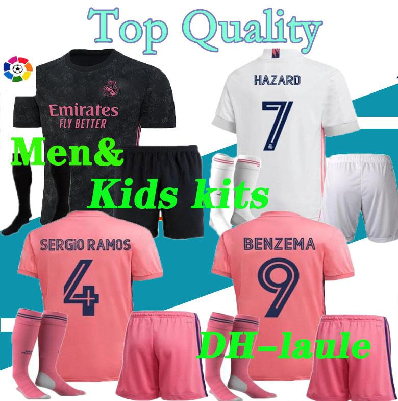 2020/21 Real Madrid soccer jersey HAZARD men and kids kits with socks 20 21 real Madrid Football shirt Asensio MODRIC ISCO child Soccer Sets