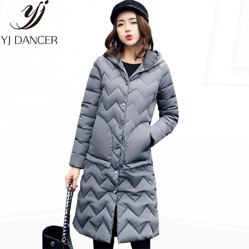 Damen Down Parkas 2021 Langer Abschnitt Winter Weibliche Warme Mantel Mode Verdicken Kapuzenkragen Frauen Lose Europe Amerika Kleidung CSS