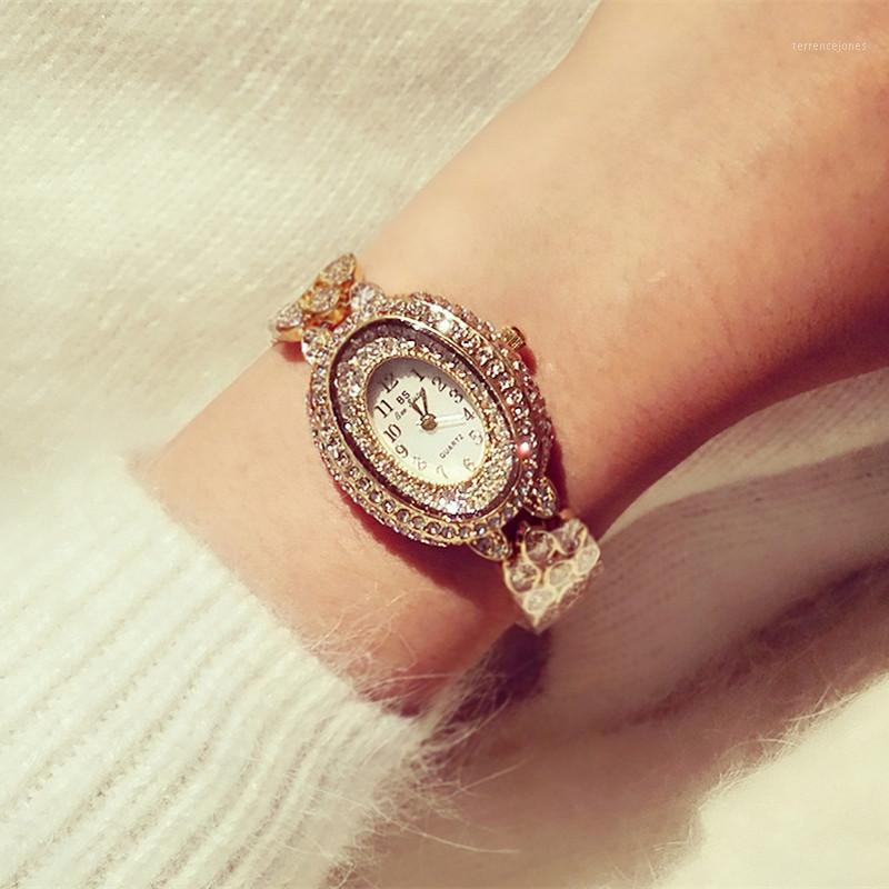 Armbanduhren uhr High-End-Link-Liste Arabisch digitaler Strass-Vollfläche Oval-Zifferblatt-weiblicher Tisch Mode Casual1