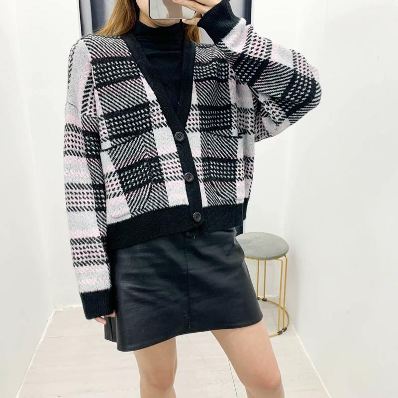Sweater de punto Cardigan a cuadros Mujeres de punto largo chaqueta de punto grueso cálido plancha cardigan suéter de punto abrigo top1