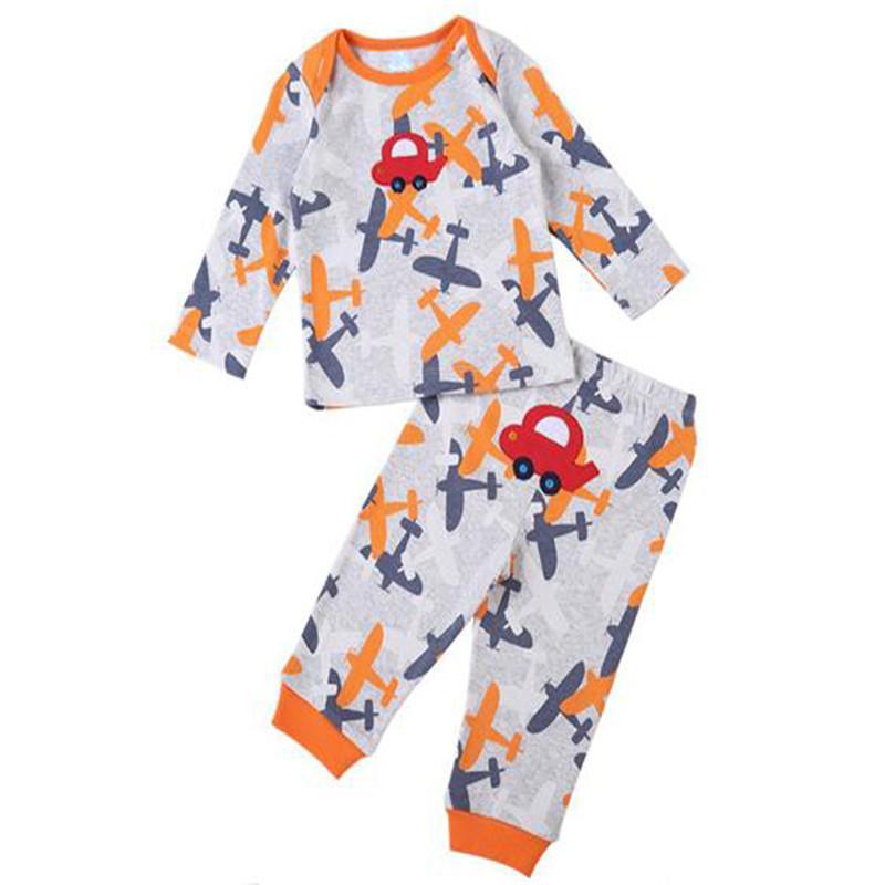 Модные детские наборы 2 футболки с длинным рукавом + 2 длинные брюки для мальчика для мальчика Tee Tees и брюки хлопок 3M-24M Y1113