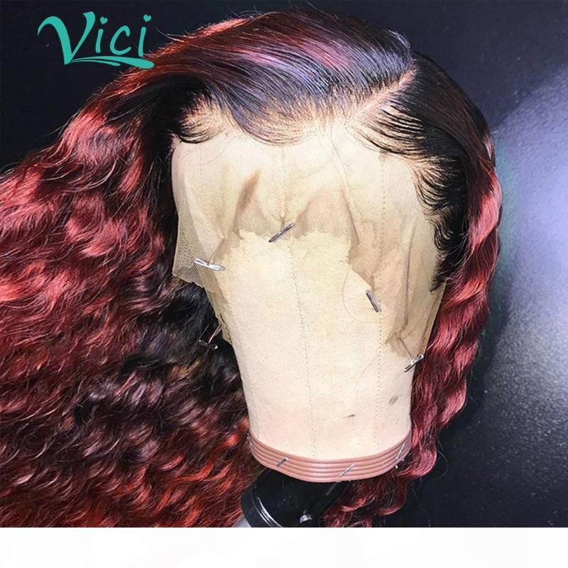 Burgundy Lace Front Wig Brazilian Ombre curly Human Hair Wig 1B 99j Long Curly Lace Front Preplucked 150% Remy For Women