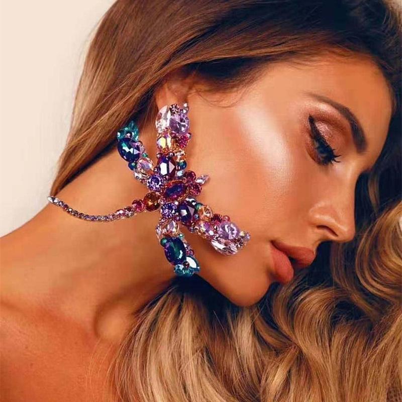 Новый дизайн Crystal Gems Dragonfly Fanceed Серьги Dragonfly Серьги Ювелирные Изделия Мода Девушки Вечеринка Большое заявление Серьги Аксессуары