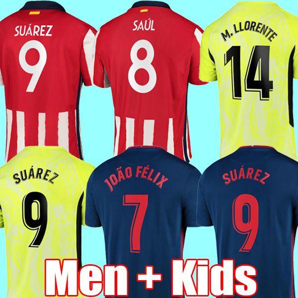 Joao Felix Soccer Jersey 2020 2021 Saul Camisetas Suarez Llorente Correa Koke Футбольная футболка Мужские изделия Детские малыши наборы набор