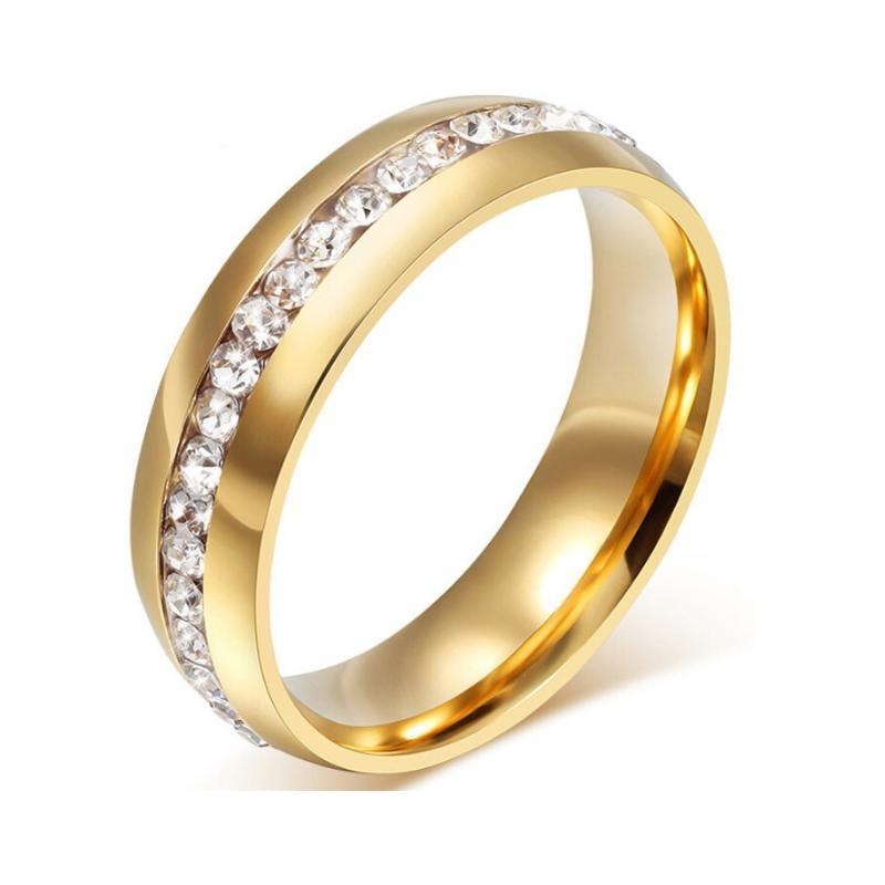 Gold Color Crystal Wedding Rings For Women Stainless Steel Rinestone Anillos Mujer Jewelry Fashion Female Party Accessories