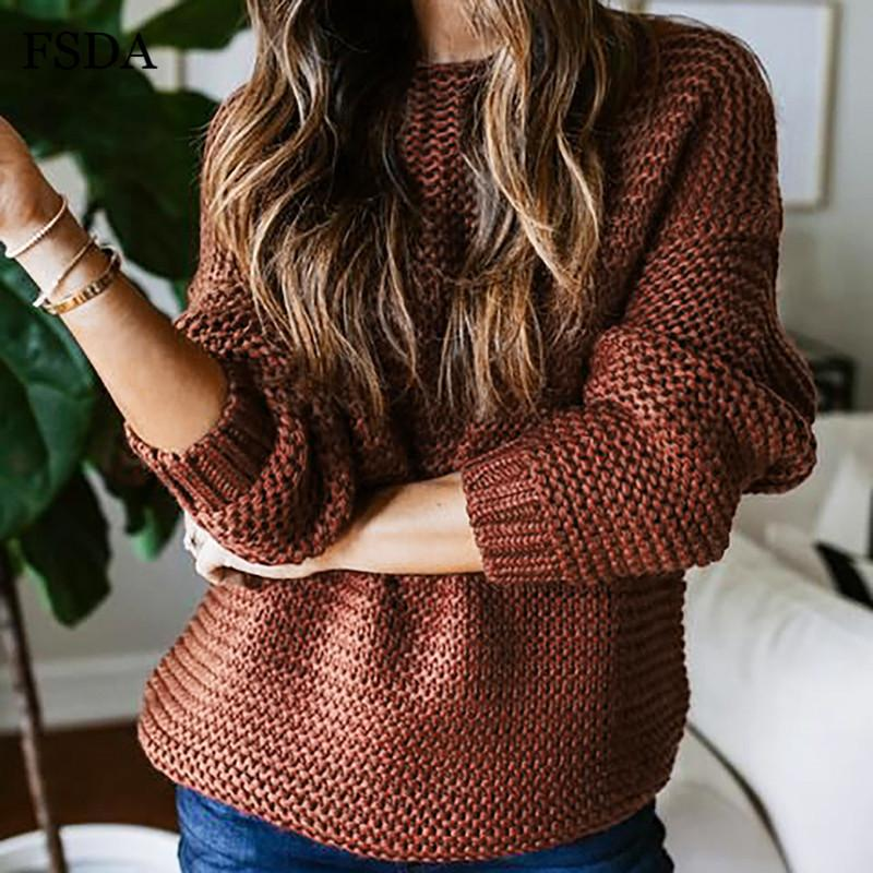 Fsda o cou tricoté pull lâche femmes femmes de noël pull surdimensionné automne hiver manches longues noir rouge gris gris casual cavalier chaud