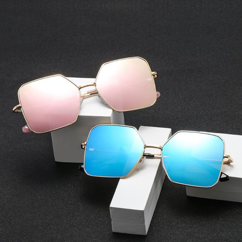 Óculos de sol irregular quadrado do vintage mulheres oceano cor espelho espelho feminino marca design metal condução óculos fml