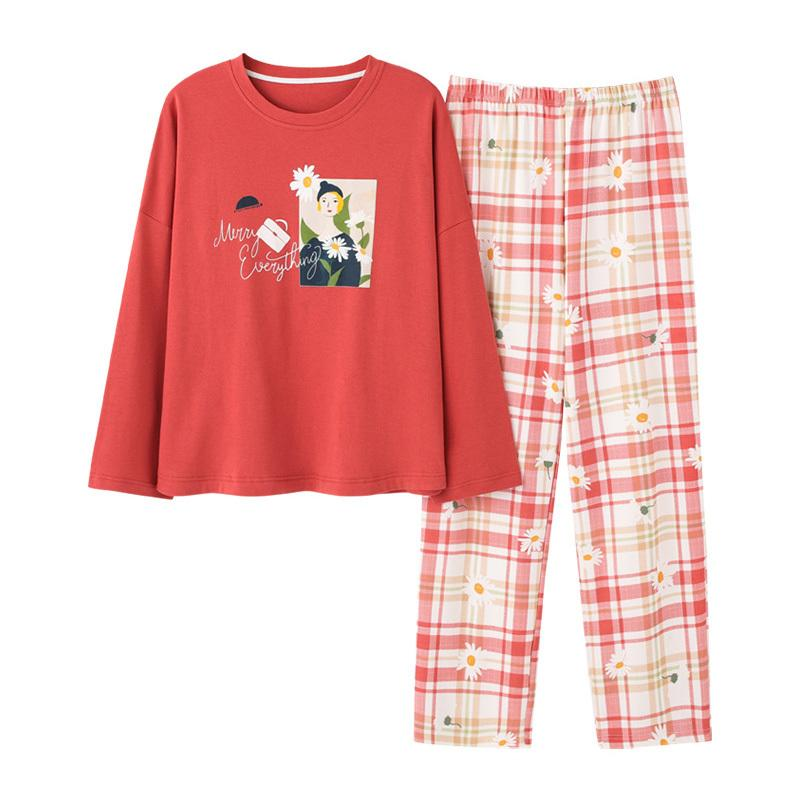 2021 Cotton Pajamas Women Cartoon Long Sleeve Pyjamas Set Autumn Home Clothes Cheap Homewear Lounge Sleepwear