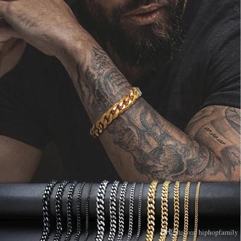 3mm-11mm Mens 14K Gold Plated Bracelet Women Cuban Link Chains Stainless Steel Curb Bracelets Gold Silver Black Color Wrist Bracelets