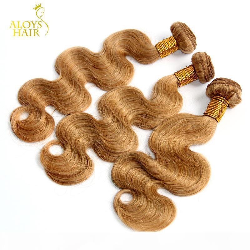 Honey Blonde Eurasian Hair Weave Wave Body Wave ondulable 100% Human Cheveux Couleur 27 # Grade 8A Eurasian Virgin Remy Extensions de cheveux Bundles Free