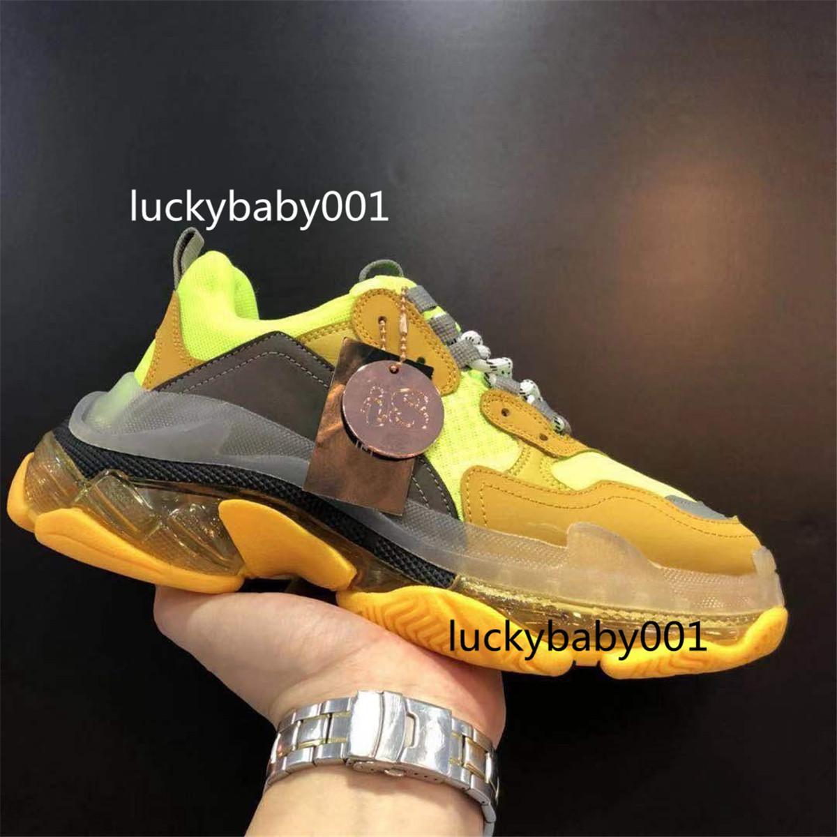 2021 جودة عالية أزياء باريس عارضة أحذية Luxuuux أحذية 17FW ثلاث مرات الرجال النسائية البيج الأسود ثلاثية وسادة الهواء الأحذية