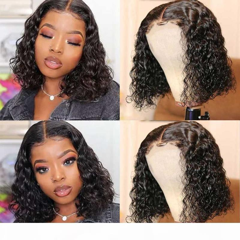Bob Wig Water Wave Curly Lace Front Wig 180% Brazilian Lace Front Human Hair Wigs Wet And Wavy Part Hd Transparent