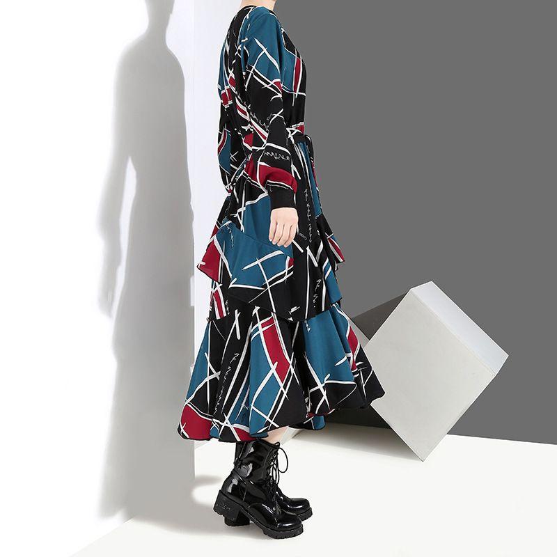 [EAM] 2020 Новый весна лето круглый шеи рукав черный узор напечатанный свободный нерегулярный подол длительное платье женщин мода ji043 y200805