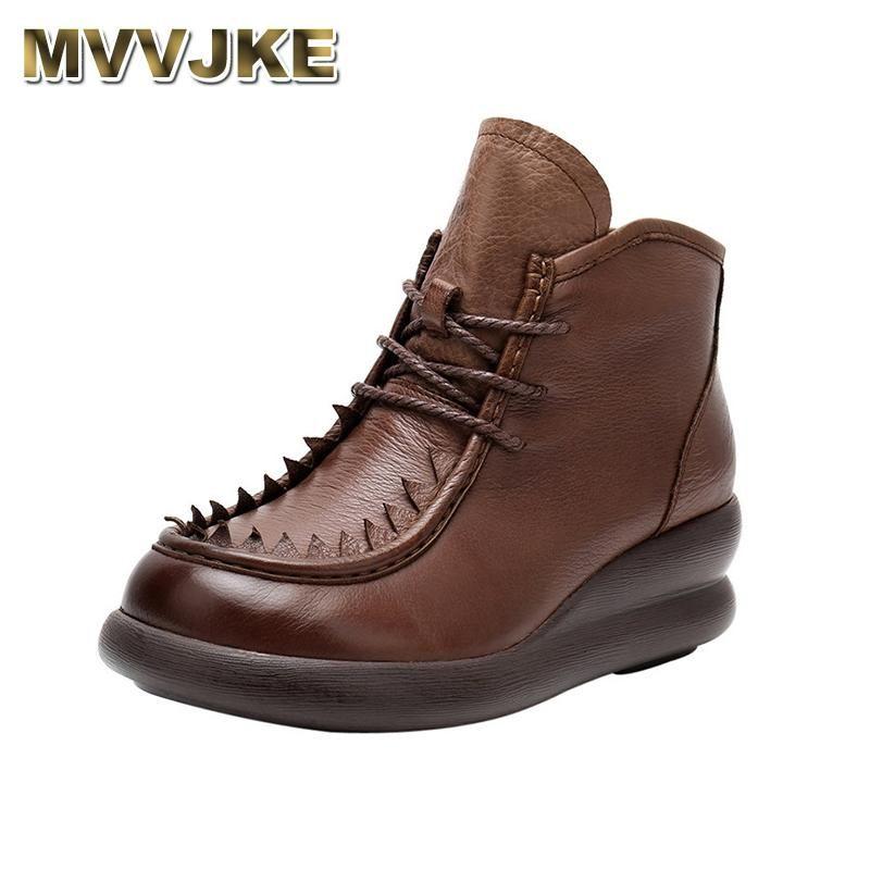 Stivali Mvvjke Donne fatte a mano confortevole Autunno Cascino in vera pelle per cunei morbidi scarpe piattaforma signore
