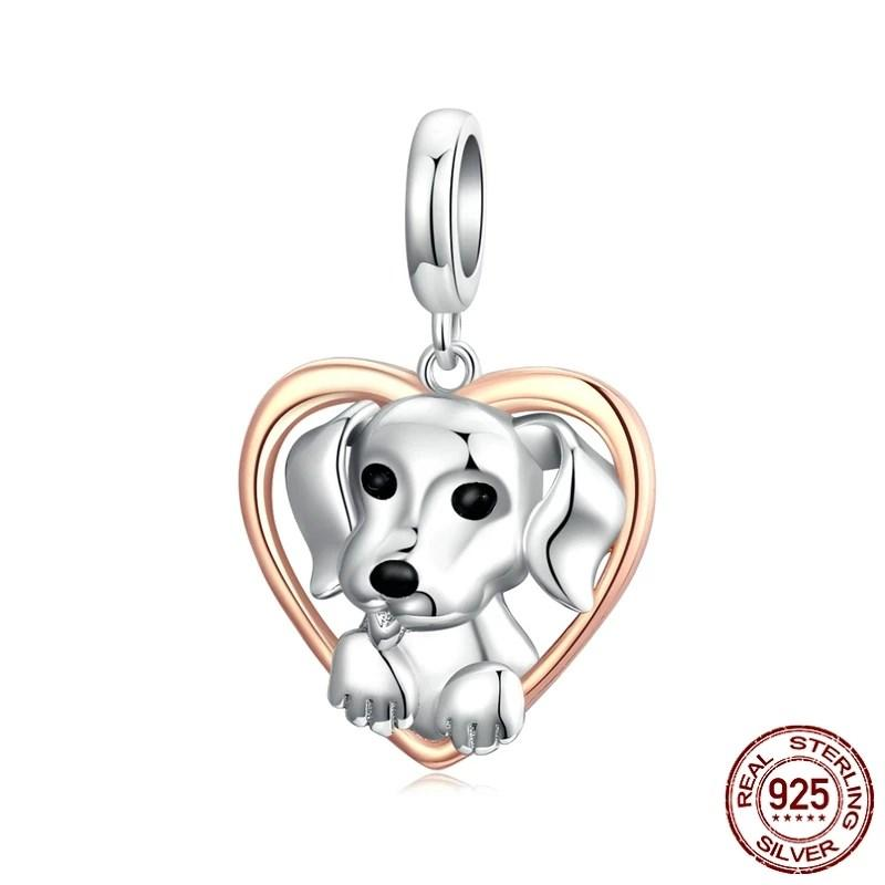 Cute Puppy Solid 925 Sterling Silver Retro Vintage Metal Charm for Original silver Bracelet DIY Make Birthday Present