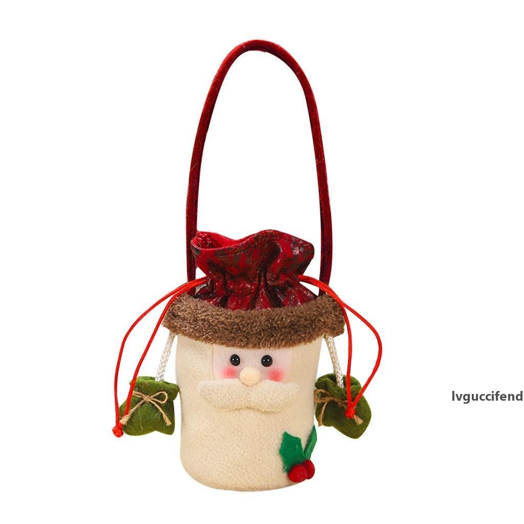 1PC Weihnachtsgeschenk Aufbewahrungstasche Kordelzug Bonbon-Spielzeug-Beutel Weihnachten Zuhause-Party-Dekoration für Kinder New Year Geschenke