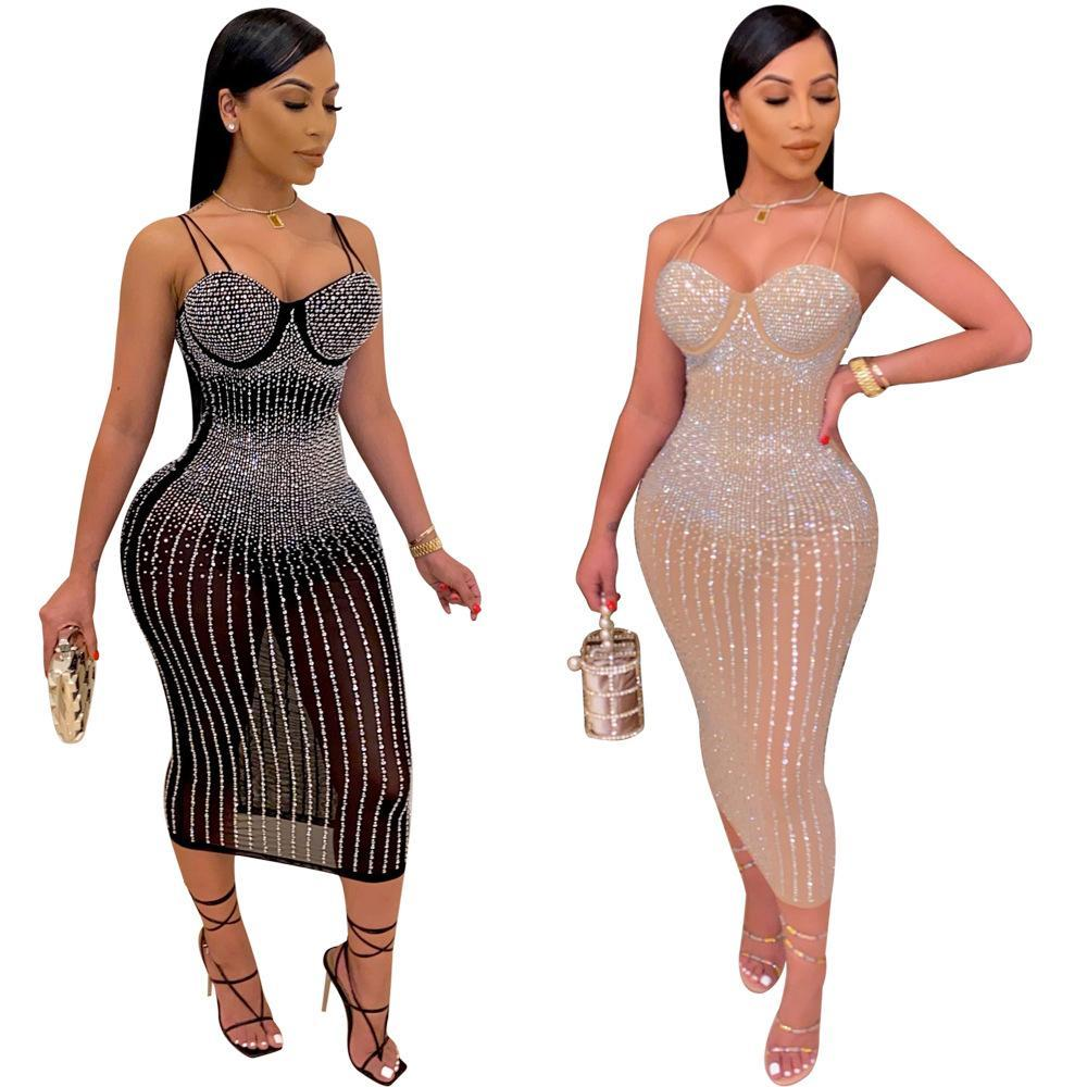 Newest Gorgeous Rhinestones Women Party Dresses Stunning Spaghetti Neck Sleeveless Mesh Sexy Party Nightclub Dress Real Picture