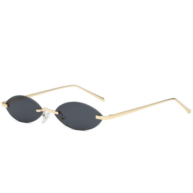 Vintage Round Black Frame Piccoli occhiali da sole femminili Donne di marca Designer Occhiali ovali Rimless Sun Shades di moda sun hspoc