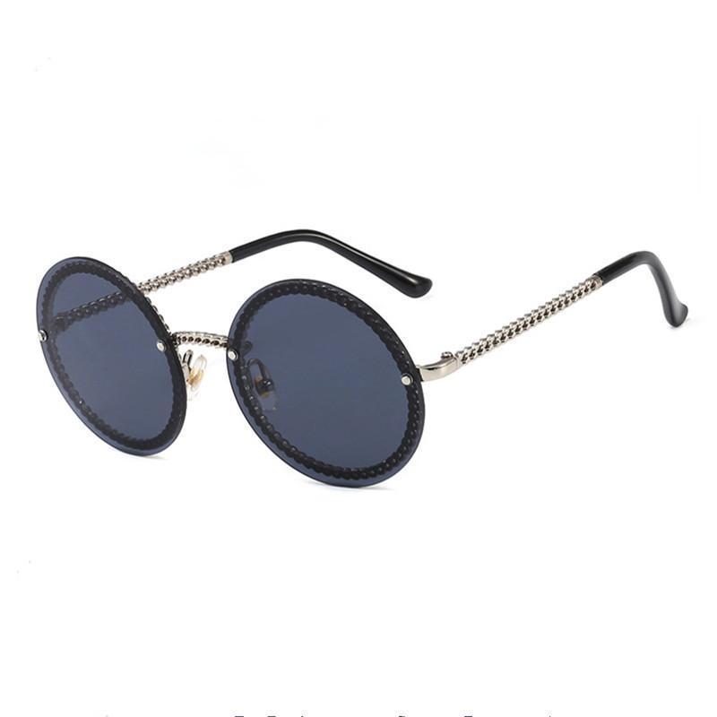 Rosa Runde Sonnenbrille Frauen Sexy Fahren Ozean Blau Vintage Kette Dekorative Sonnenbrille Weibliche Goldrahmen Zonnebril Dames