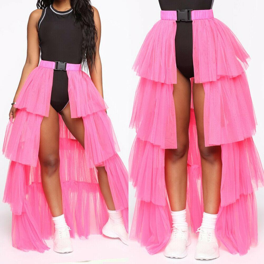 2020 패션 여성 여자 메쉬 높은 허리 우산 여성 계층화 얇은 명주 그물 투투 2style 롱 / 미니 스커트