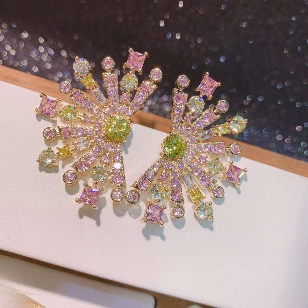 Presente de Natal Luxo Flores Multicolor Flores Projeto Full Cúbico Zircônia Do Estar Brincos Partido Bridal Noivado Brincos Jóias E-554