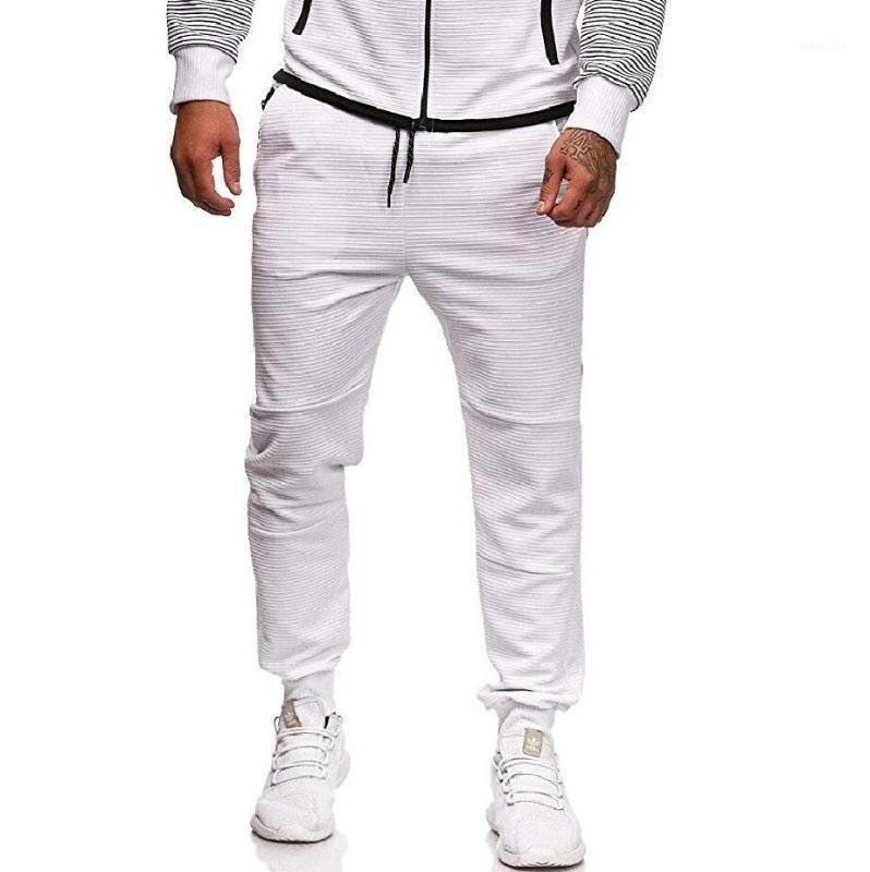 Calças casuais masculinas listras de costura de costura de cor personalidade personalidade calças esportivas homens de comprimento total trackpants grande tamanho1