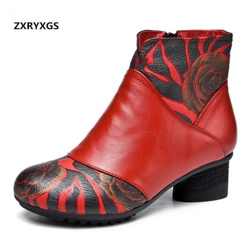 Botas de impresión de colores mezclados zapatos de cuero genuino mujer moda otoño invierno espeso tacón mujer tobillo