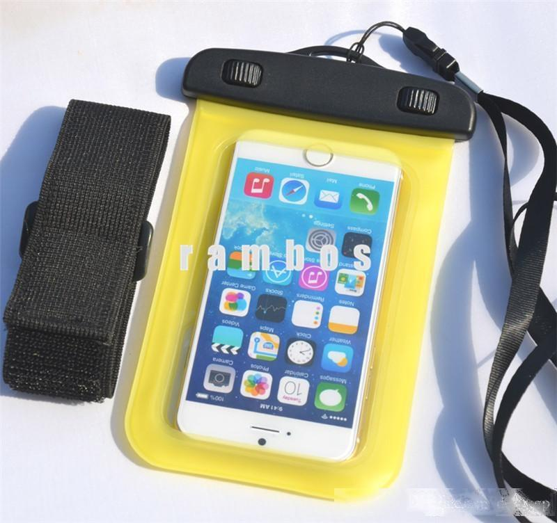Mobile Phone Cover PVC Waterproof Bag Case Pouch with Neck Strap and arm band for iphone6s plus