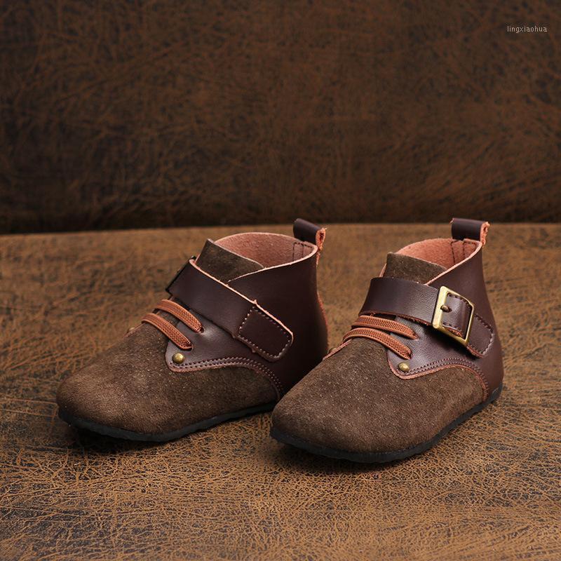Chaussures pour enfants 2020 Automne Boys et filles Bottes courtes Barefoot Véritable Bottes Soft Fantat Soft Bottes1