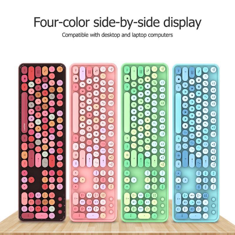 Teclado Mouse Combos Multi-Color Sem Fio Retro Circular Circular 2.4GHz USB Receptor 1600dpi Office Mice Office Set