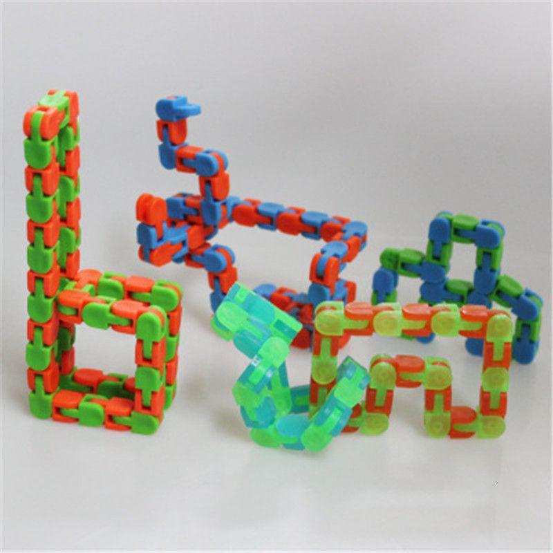 Childs Wacky Tracks Snap e clique em Fidget Brinquedos DIY Kids Autism Snake Puzzles Classic Sensory Sensory Denompression Toy