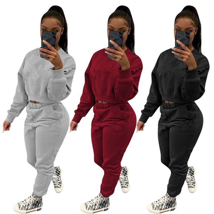Abbigliamento da donna Tracksuits Manica lunga Abiti a maniche lunghe Plain Sweatsuits Hoodieleggings Due pezzi Sportswear S-3XL Vestito da jogger 4218