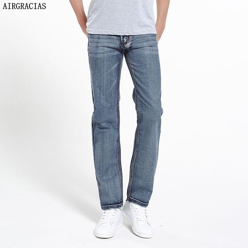 Airgracias Marka Kot Retro Nostalji Düz Denim Kot Erkekler Artı Boyutu 28-42 Erkekler Uzun Pantolon Pantolon Klasik Biker Jean 201111