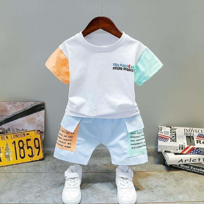 Niños bebé niño impresión de dibujos animados camiseta pantalones cortos verano niños excursiones de la ropa 2pcs / sets infantil niños niños chándalsuits 0-4 años 201126