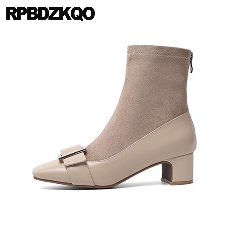 Boots Colulsy Осенние замшевые квадратные пальмы ноги короткая мода 10 высокий каблук большой размер бренда женская зимняя натуральная кожаная лодыжка металлическая обувь
