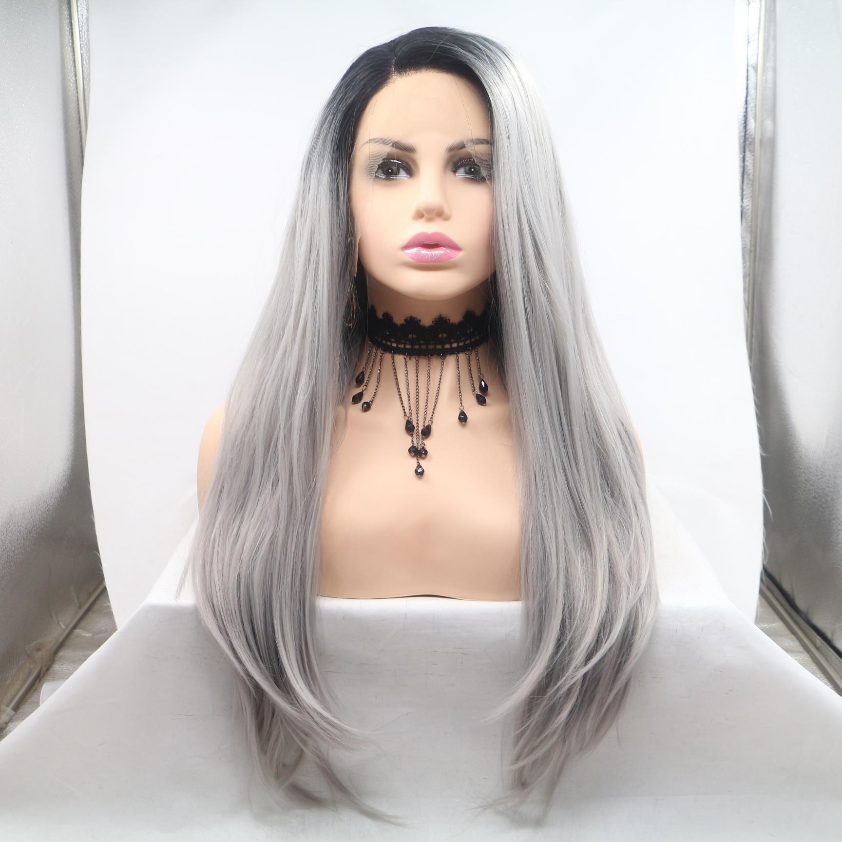 Parrucca dei capelli sintetici di capelli sintetici dei capelli di capelli lunghi diritti naturali del pizzo