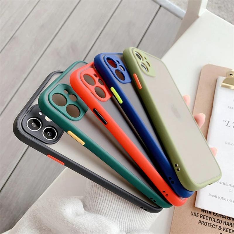 아이폰 6 7 8 플러스 x 11 12 프로 최대 x XR XS 최대 7Plus 럭셔리 명암 색상 프레임 무광택 하드 TPU + PC 보호용 DHL 100pcs 전화 케이스