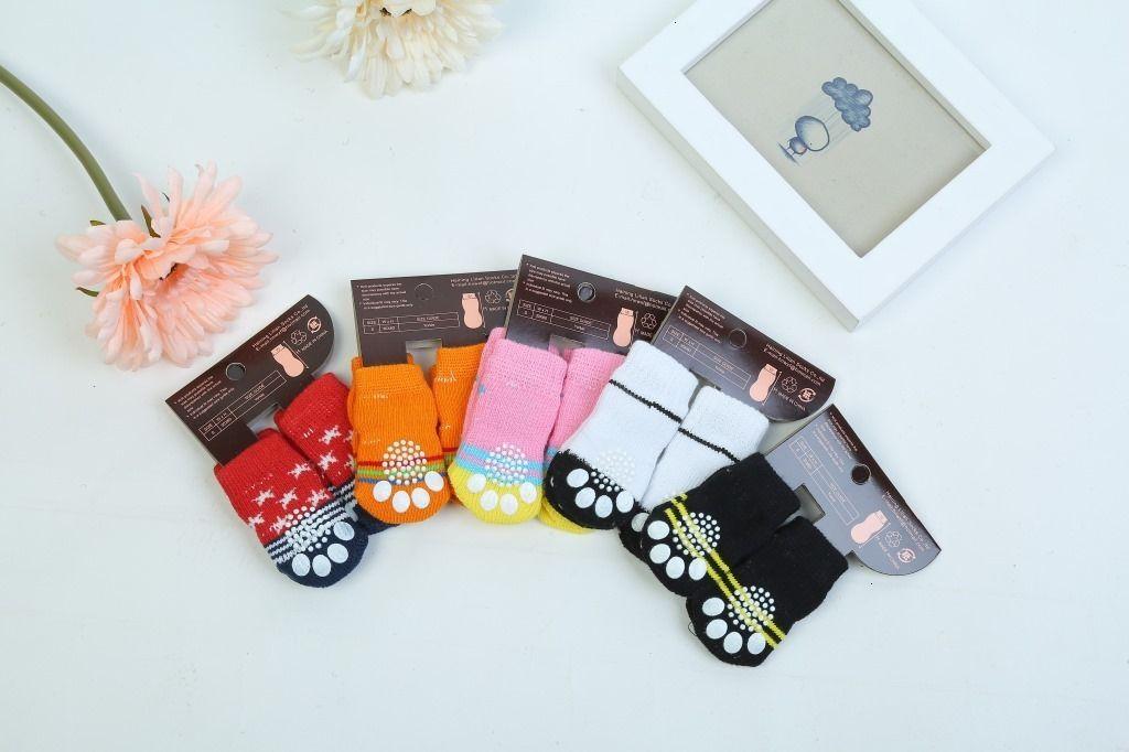 for dog warm socks Hot winter pet Cute Puppy Dogs Soft Cotton Anti-slip Knit Weave Sock Skid Bottom cat Clothes 4pcs/set