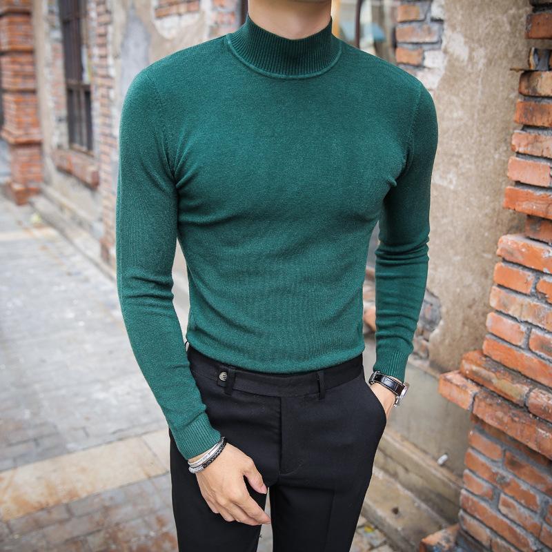 2021 Brand Sweater pour homme Pull Couleur Purée Pull à tricoter pour homme à manches longues Semi-Haute cou décontracté dans le collier Pull