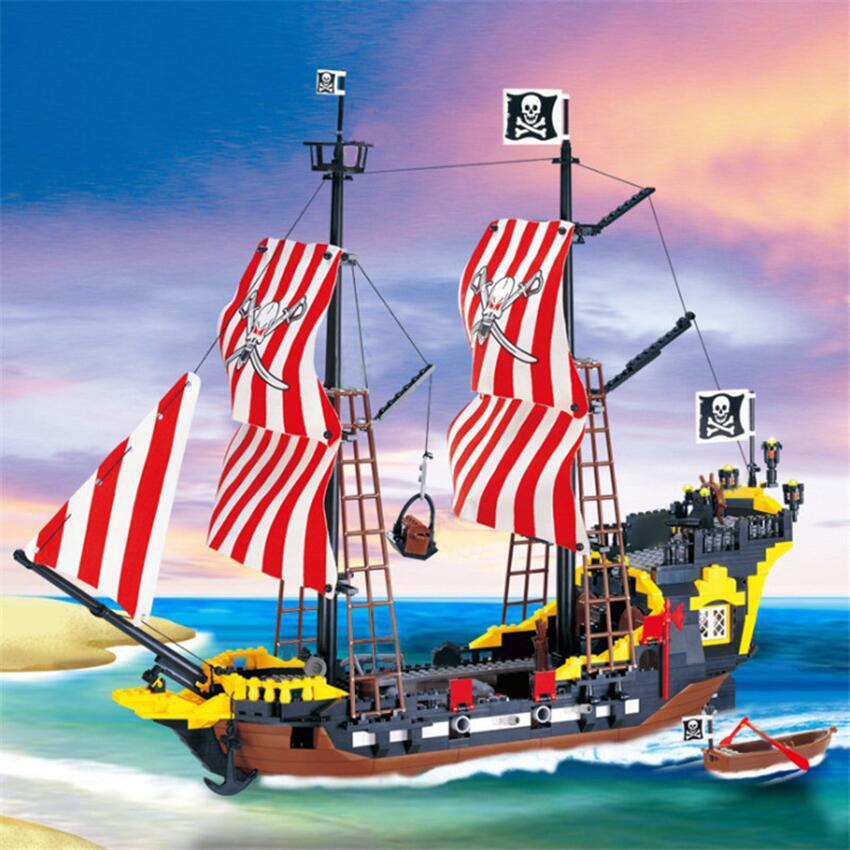 870 + PCS Big Black Pearl Building Blocks Compatible con Piratas Ship Enlighten Blocks Pirates Educational Kids Toys Q1126