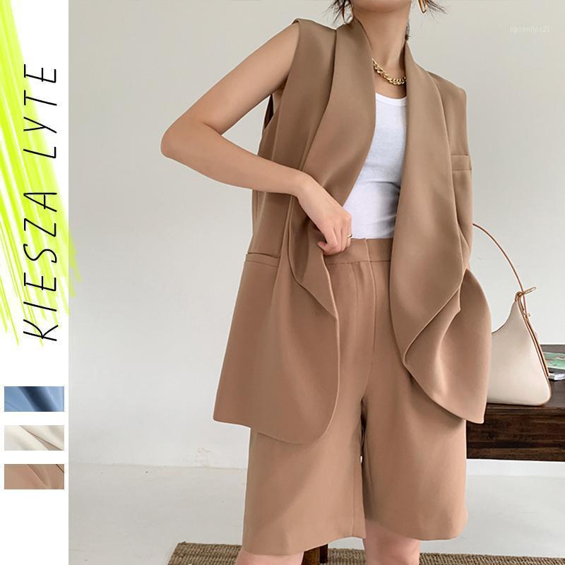 Cuissons Femmes Blazers Femmes Sans manches Blazer Set 2021 Fashion Pantalon court 2 pièces Casual Outwear1
