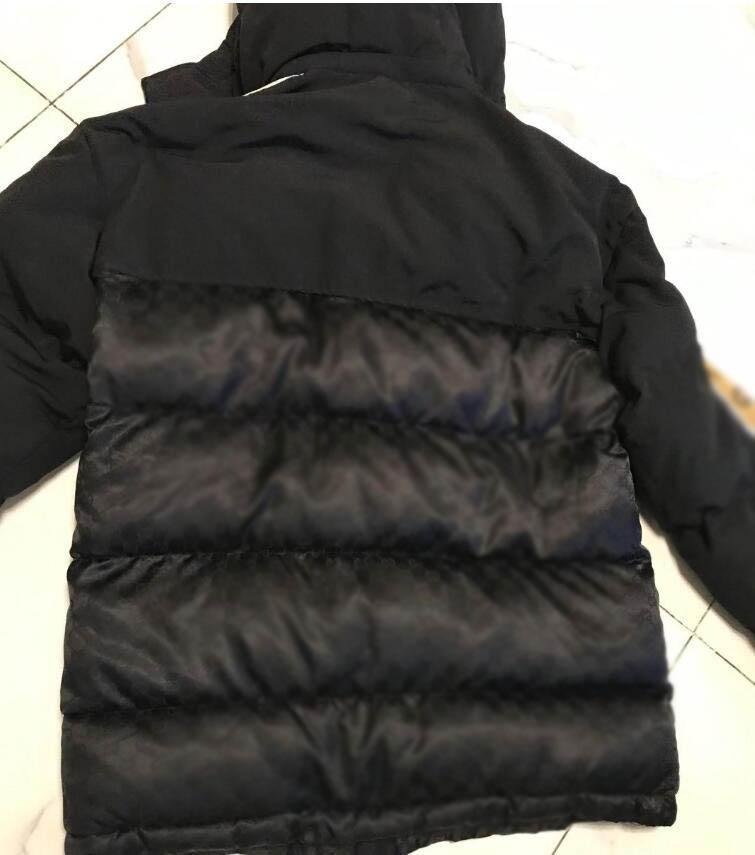 20fw fransız son çok yönlü moda tam baskılı mektuplar yüksek kaliteli erkek kış sıcak pamuk ceket üst uzun siyah sıcak ceket yüksek qua