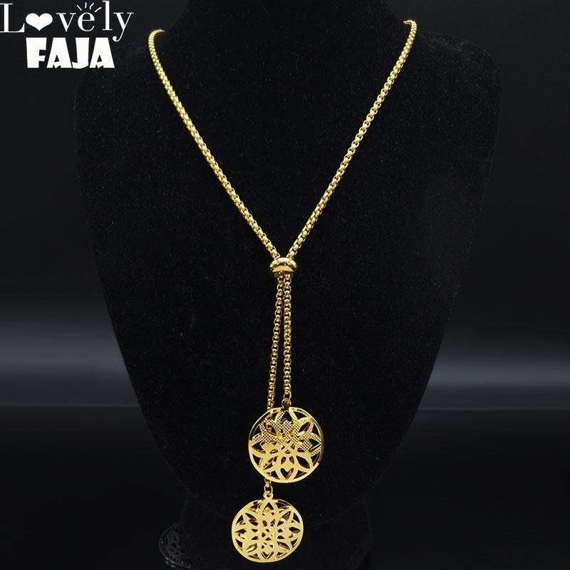 2021 Moda Paslanmaz Çelik Çiçek Hayat Kolye Kadınlar Için Altın Renk Uzun Kolye Kolye Takı Gargantilla N1350S03