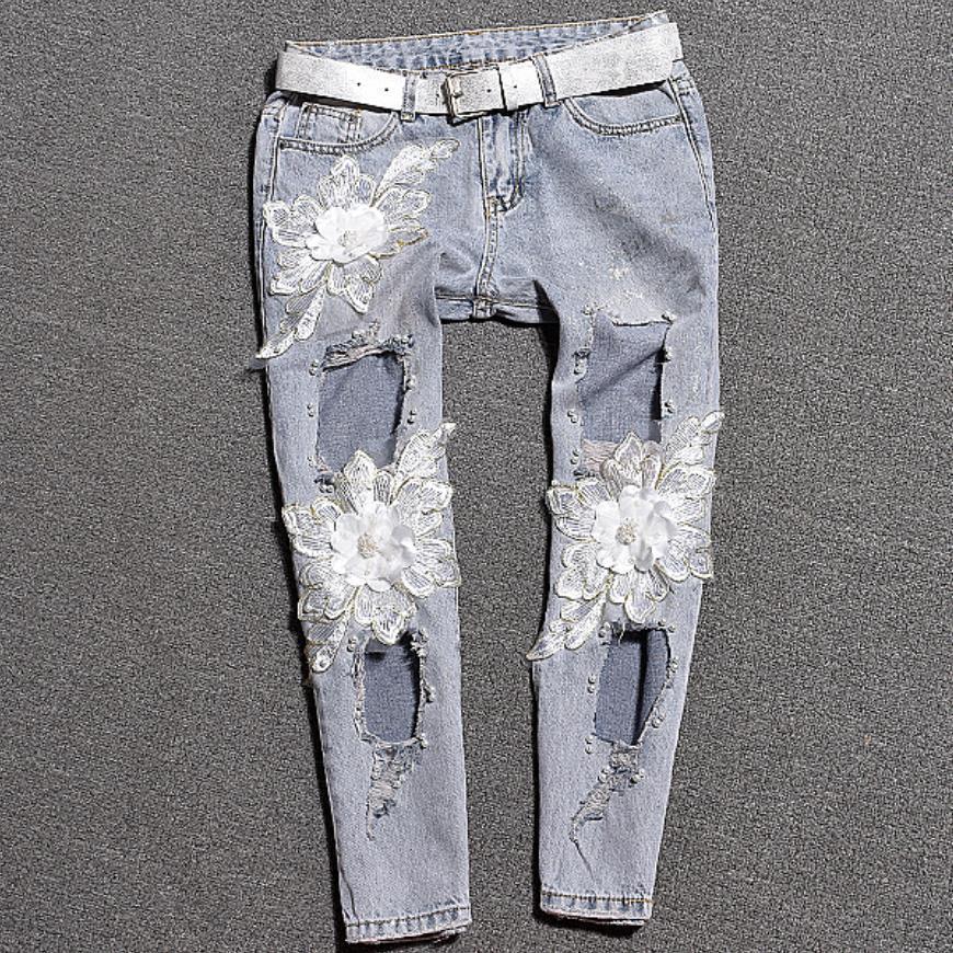 Summer Nouvelle arnaque de fleur séquoiatrice mi-taille sexy trou vintage jeans femmes mince décontracté denim lâche cheville longueur pantalon
