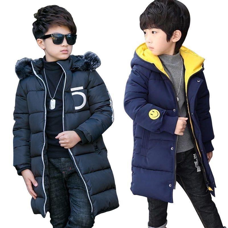 Giacca per ragazzi Nuovi Giacche invernali con cappuccio Fashion Parka calda per adolescenti Ragazzi Addensare Cappotto a metà lungo Cappotto per bambini Vestiti per bambini 201216