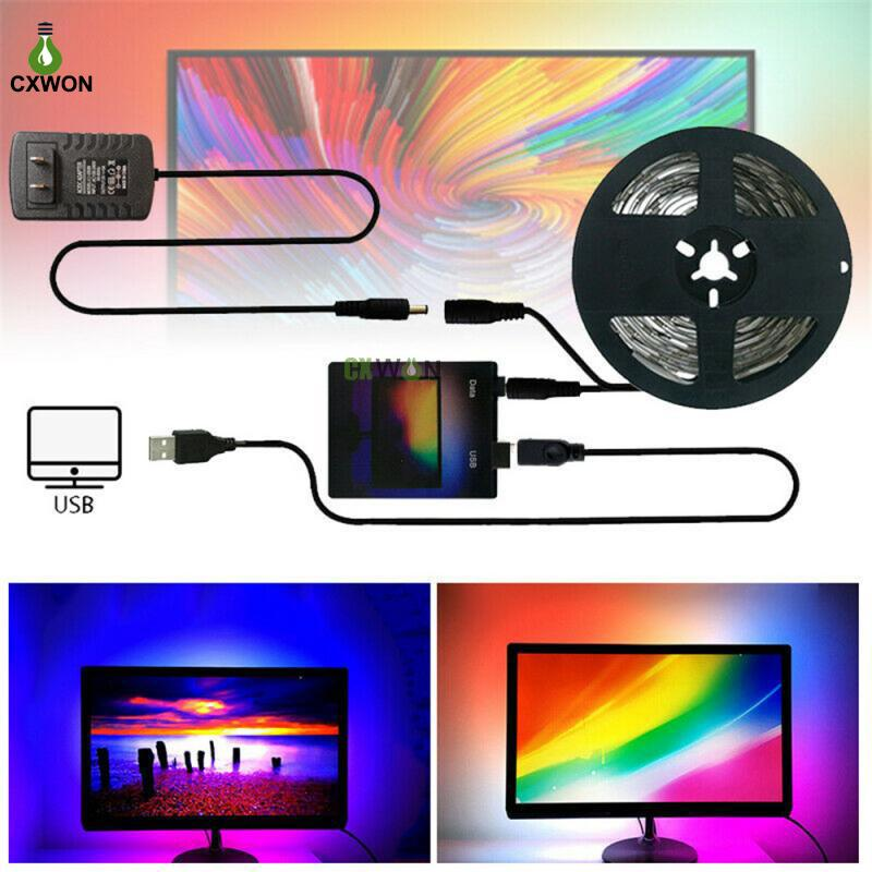 TV Strip Kit USB Dream Цвет светодиодной полосы 1 м 2 м 3 м 4 м 5 м RGB WS2812B полоса для телевизора экран подсветки экрана