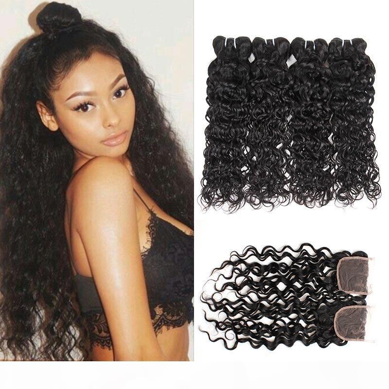 Paquete de cabello humano brasileño 4 paquetes con paquetes de onda de agua sin procesar de cierre con libre 3 partes húmedas y onduladas.