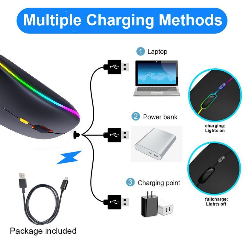 Drahtlose Maus Bluetooth RGB wiederaufladbare Maus Wireless Computer Silent Mause LED Backlit Ergonomische Spielmaus für Laptop-PC