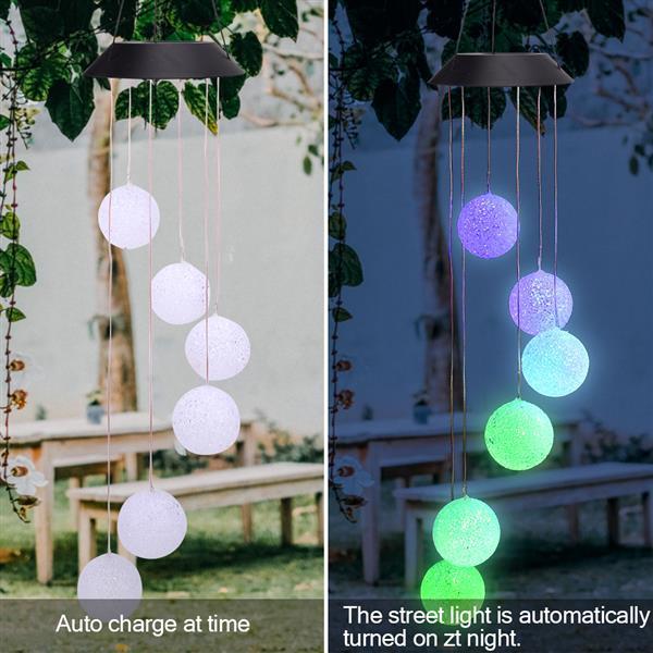 Panel solar Corredor estilo de control de luz solar 40MAH inteligente de onda de la bola del carillón de viento lámpara pendiente de la decoración de perlas Negro al por mayor de colores de luz